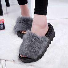 2016 Women Soft Rabbit Fur Slides Furry Slipper Handmade 6 CM Flat Platform Heel Slipony Slip On Sandals Soft Autumn Warm Shoes