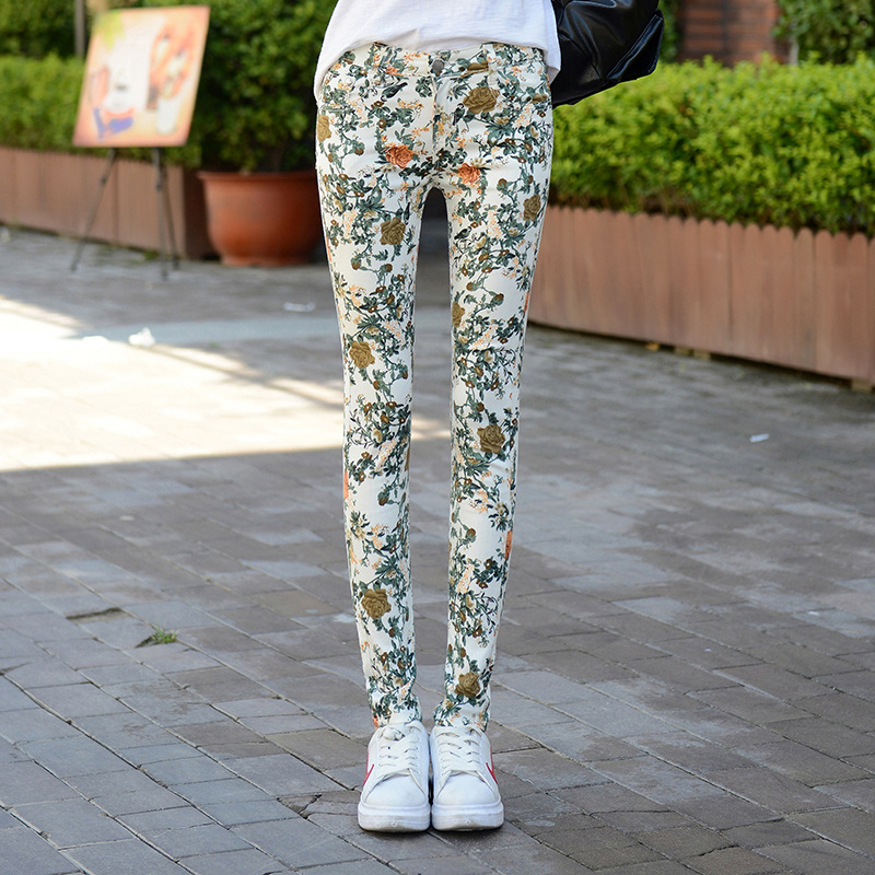 Free shipping spring flower trousers female elastic plus size pencil pants print skinny jeans white color ladies jeans women 2017 spring and autumn plus size white female skinny jeans pants trousers lengthen female slim pencil pants for women ladies