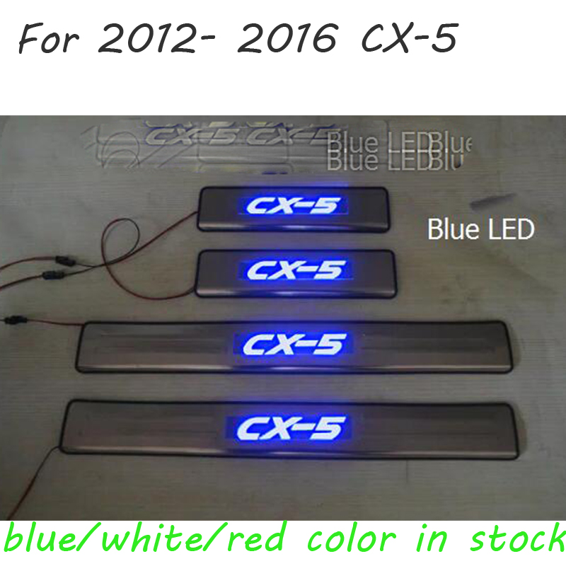 Stainless Steel LED lamp Door Sill Protectors Scuff Plate Welcome Pedal Threshold Pads Trim for Mazda CX-5 CX 5 CX5 2014 2013 2x cool custom led running door sill strip welcome pedal car accessories for mazda cx 5 2013 2014