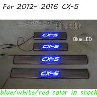 Stainless Steel LED lamp Door Sill Protectors Scuff Plate Welcome Pedal Threshold Pads Trim for Mazda CX 5 CX 5 CX5 2014 2013