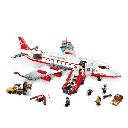 Modèles de construction jouet 8913 ville grand avion de passagers avion 856 pièces blocs de construction compatibles avec lego City jouets & loisirs