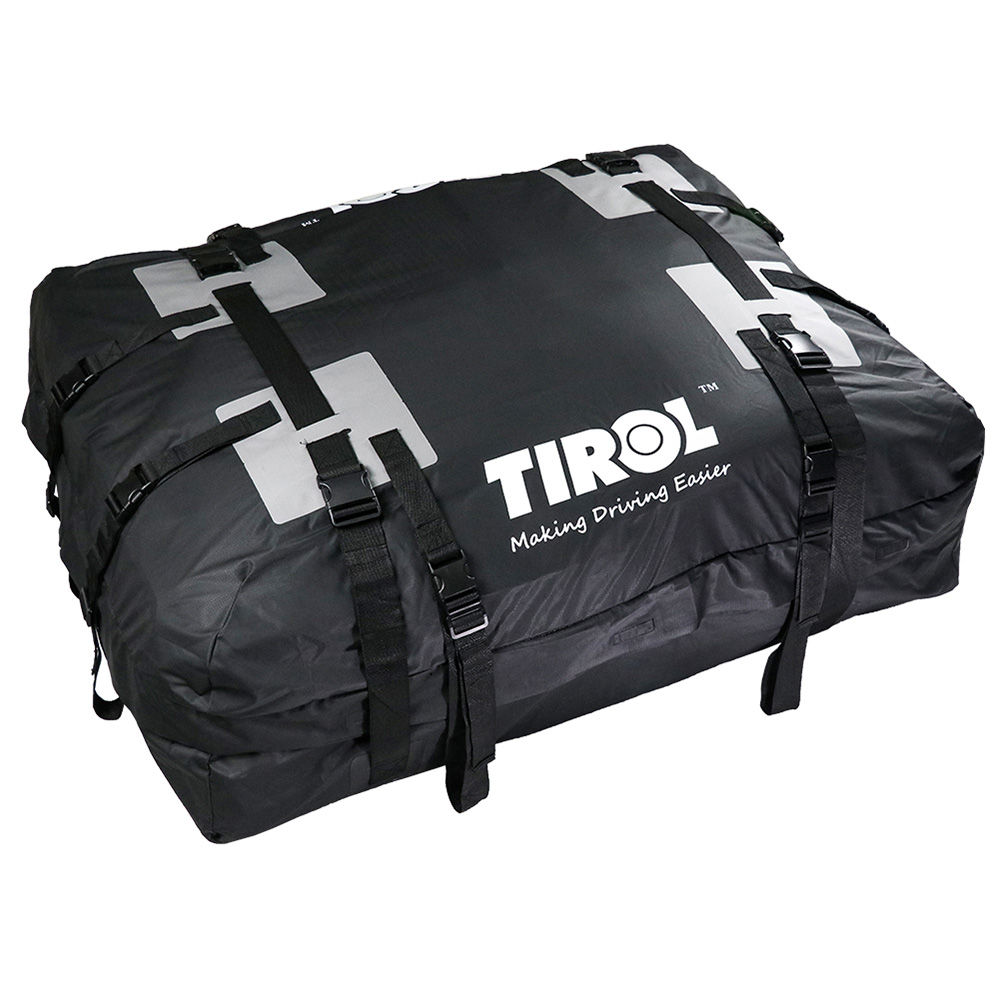 For Vehicles With Roof Rails TIROL Waterproof Roof Top Carrier Cargo Luggage Travel Bag 15 Cubic Feet