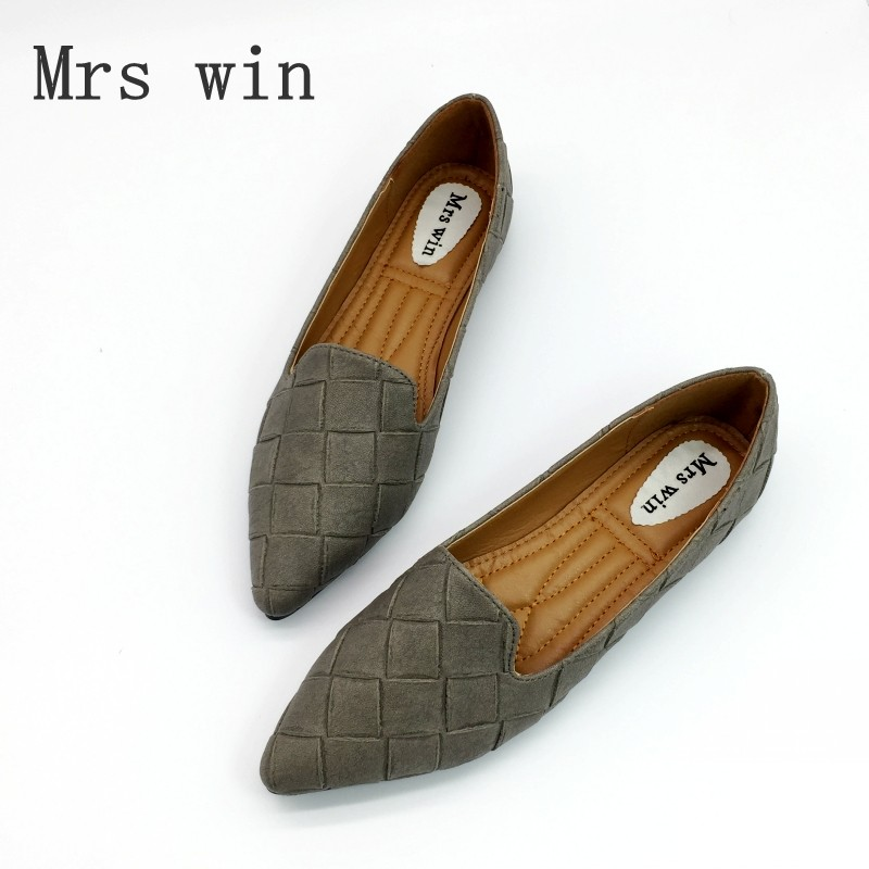 Vintage Weave Style Spring Autumn Women Casual Loafers Pointed Toe Slip On Flats For Woman Ladies Single Shoes Plus Size Gray xiaying smile woman flats women brogue shoes loafers spring summer casual slip on round toe rubber new black white women shoes