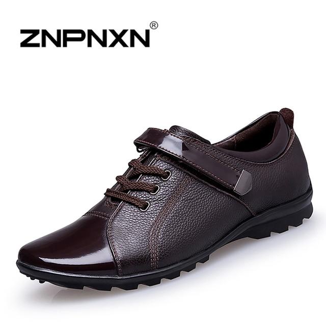 ZNPNXN Nuevos Hombres Zapatos de la Marca de Lujo Genuino Cuero de Los Hombres Zapatos Planos Ocasionales de Los Hombres Zapatos Oxford Zapatos Hombre 2016