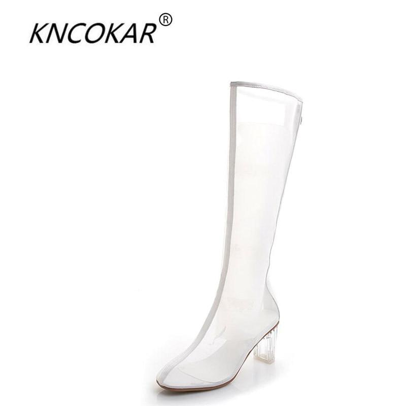 Boot Zipper Respirant Automne Noir Kncokar Mode blanc Et Cristal Transparent En Pur Haute Sexy 2018 Couleur Avec Nouveau Style Dames Printemps Net g7HgO