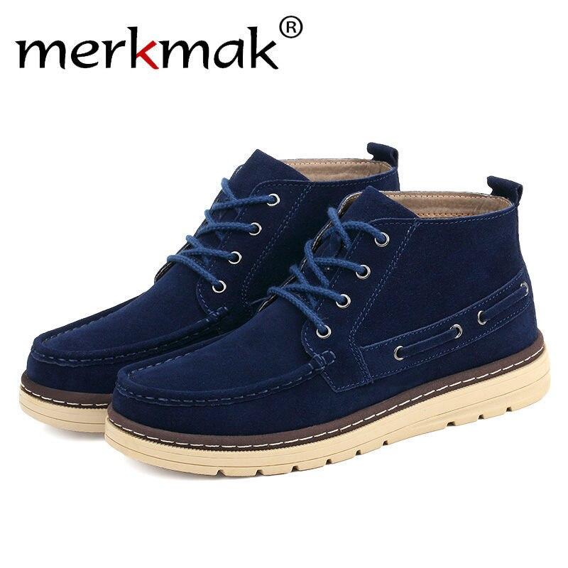 Merkmak/Винтаж Мужские ботинки обувь досуг кожаные высокие ботильоны новые Comforatble на весну и зиму мех мужской обувь на плоской подошве оптовая ...