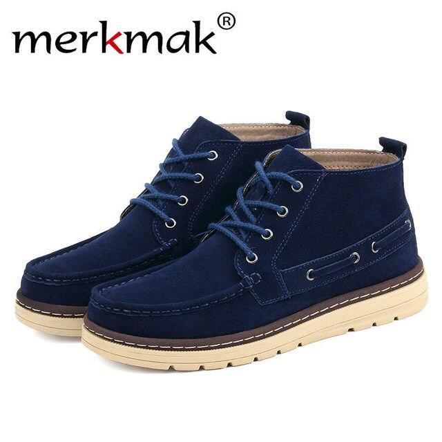 Merkmak Vintage Pria Sepatu Sepatu Rekreasi Kulit Pergelangan Kaki Sepatu  Bot Tinggi Baru Comforatble Musim Semi ffd6a80fb9