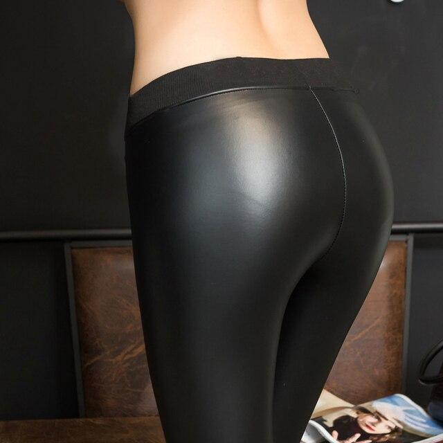 2017 de La Moda de Primavera de Las Mujeres Brillantes Pantalones de Cintura Delgada Sexy PU Imitación de Cuero de Gran Tamaño de Los Pantalones Largos de Terciopelo OutWear Pantalones Lápiz