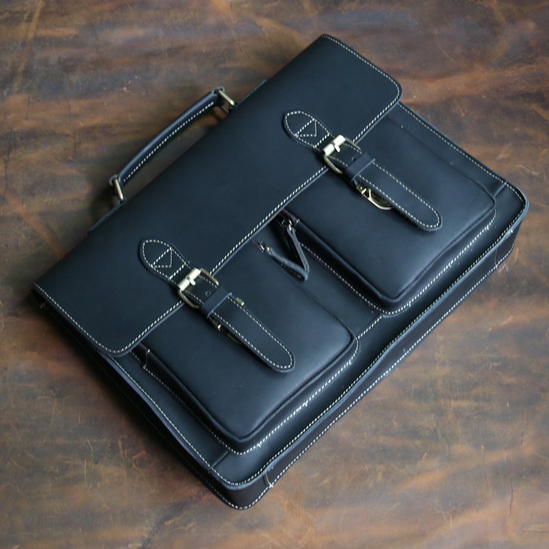Высококачественный Мужской винтажный кожаный портфель Crazy Horse, сумка через плечо, сумка для ноутбука, чехол, Офисная сумка 1061 - 3