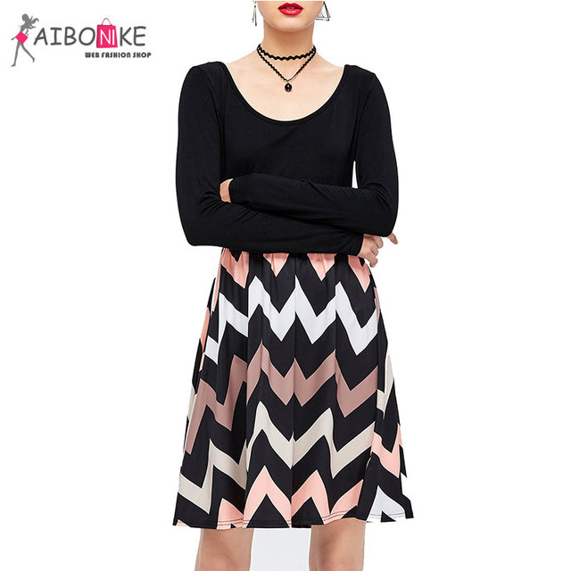 ed10edfea4 Aibonike Retro Black And White Striped Dress Women Vestidos Black Skater  Dress Long Sleeve For Women Patchwork Ball Gown Cotton