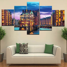 5 Panel Canvas Print Germany Hamburg City sunset Night river bridge landscape living Room home wall art decor wood frame posters