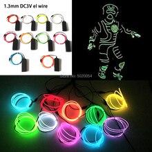1.3MM 네온 LED 램프 자동차 조명 댄스 파티 장식 유연한 EL 와이어 로프 튜브 무대 의상 빛 3V 인버터