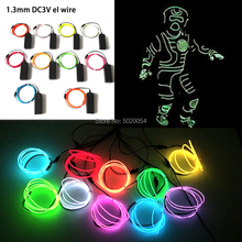 1.3MM Neon LED lamp Car Lights Dance Party Decor Flexible EL Wire Rope Tube Stage Costume Light With 3V Inverter