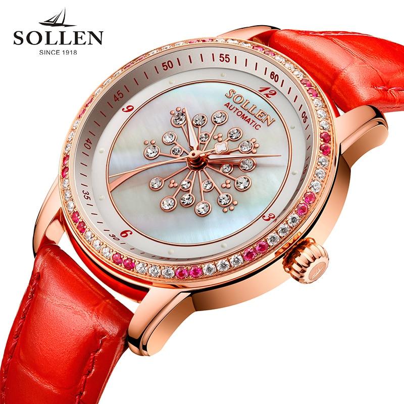 2017 luxury brand SOLLEN watches women automatic mechanical dandelion shell pearl diamond sapphire Italian calfskin wristwatch рубашка мужская the true nature of the heart birds 2014