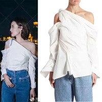 Элегантная женские блузки Мода 2017 zanzea feminina, сексуальные топы с открытыми плечами, рубашка для женщин, потрясающий дизайн, Повседневная бела