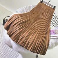 2019 Otoño e Invierno nueva Falda plisada de cintura alta falda de terciopelo de gamuza Faldas Largas Elegantes envío gratis