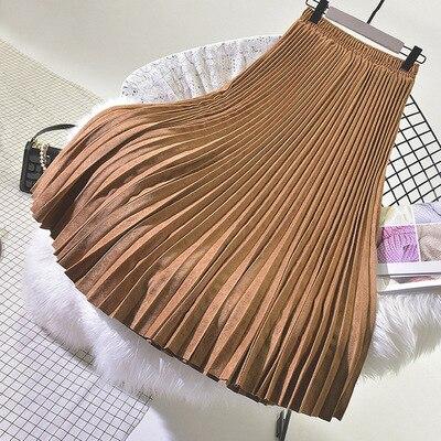 2019 outono e inverno nova chegada saia plissada alta cintura camurça veludo saia faldas largas elegantes frete grátis
