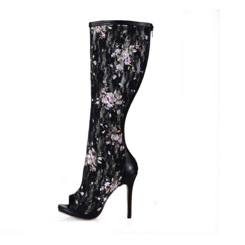 ФОТО 2017 Big Size 43 New Breathable Mesh Knee High Boots Women High Heels Sexy Long Boot Summer Flower Open Toe Pumps Platform Shoes