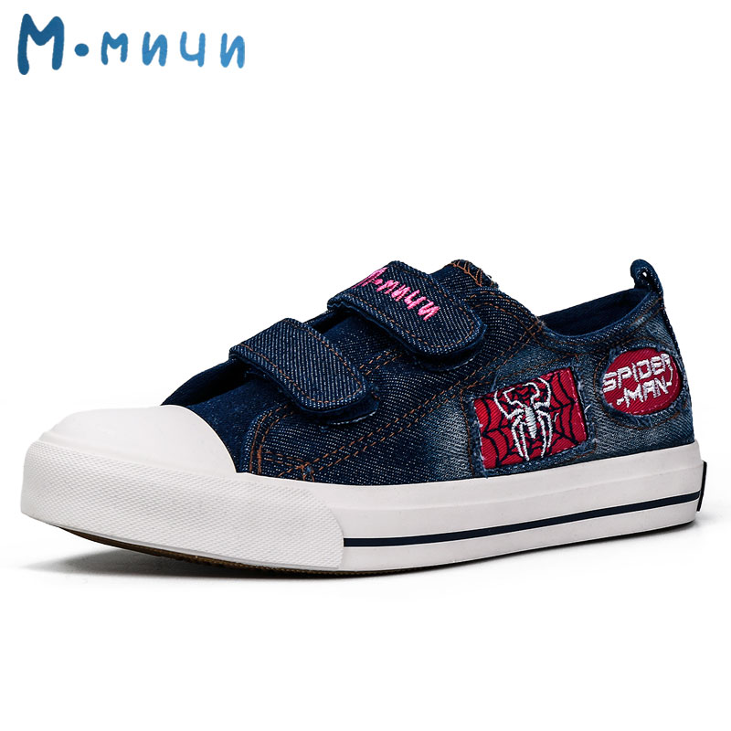 MMNUN 2018 New Spring Boys Shoes with Spider Denim Canvas Kid Children Sneakers Boys Causal Shoes B Shoes Childrens Shoes 1809K