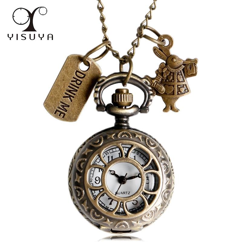 Vintage Retro Hollow Flower Pocket Watch Alice In Wonderland Drink Me Rabbit Half Hunter Necklace Exquisite Fob Watch Gifts