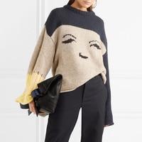 Autunno inverno volto sorridente allentato donna maglione pullover manica lunga di modo lavorato a maglia pista di lusso maglione di lana femminile jumper