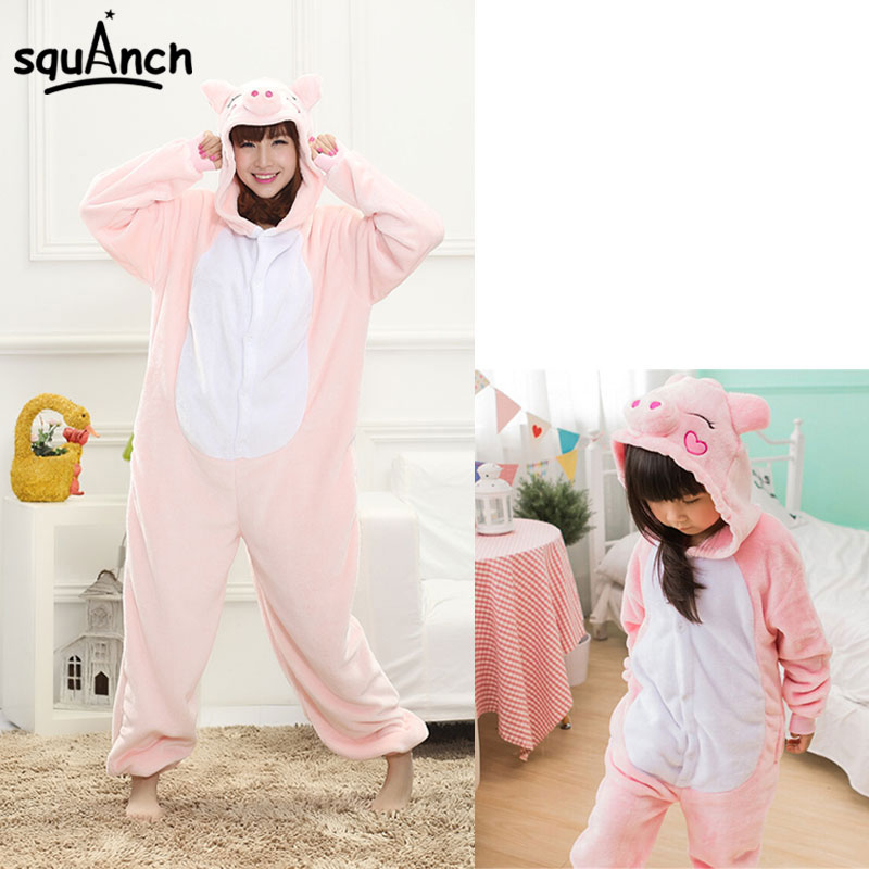 Pig Onesie Cartoon Pink Animal Kigurumis Adult Couple Boy Girl Kawaii Pajama Carnival Performance Home Sleep Wear Winter Overall