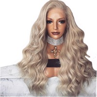 DLME 180% Gęstość 22 Inch Popiołu Blond Żaroodporne Koronki Przodu peruka Z Baby Włosów Ciało Fala Glueless Peruki Syntetyczne Dla kobiety