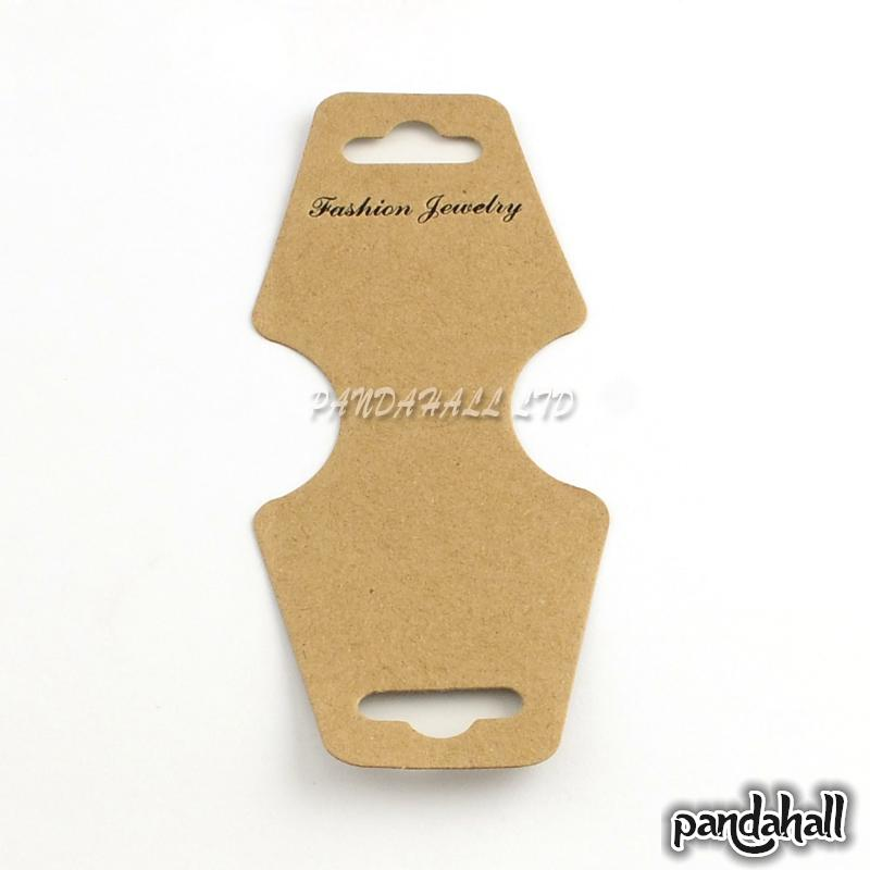 Cardboard Display Cards, Used For Necklace, Bracelet and Mobile Pendants, Camel, 124x46x0.3mm