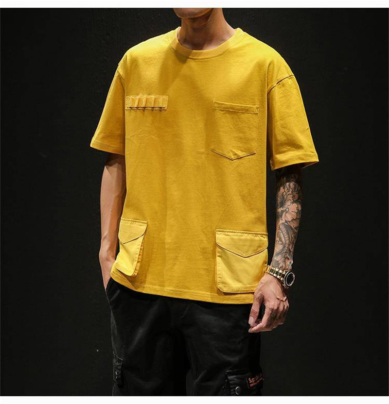 Hip Hop T-shirts Men With pockets Harajuku Oversized Tops Tee Japan Tshirt Streetwear Casual Solid High Street T Shirts Boy 37