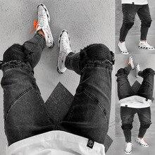 Модные мужские черные джинсы, уличная одежда, потертые джинсовые штаны, хлопковые винтажные брюки в стиле хип-хоп, джинсы в стиле хип-хоп