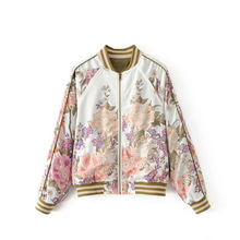 Boho Vintage Floral Print Bomber Jacket Women Coat 2018 New Fashion O Neck Long Sleeve Streetwear Outwear Casual Casaco Feminino