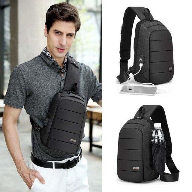 Fashion Crossbody Bags Men Waterproof USB Charging Chest Pack Shoulder Bag for Short Trip Sling Messenger Bag Male