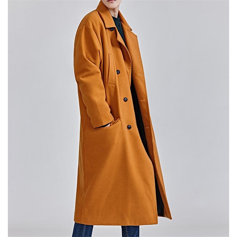 Plus Coréenne Noir Robe Poches Style Lâche D'hiver Hommes orange La Manteau Green Mode army Manteaux Taille 2018 gqHfg1r