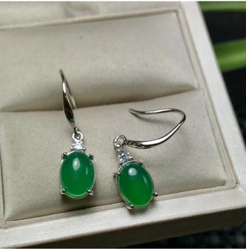 Natural Green Chalcedony  earring Free shipping Jewelry Natural real Chalcedony 925 silver Earring