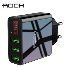 ROCK USB Charger For iphone Charger LED Display 3 USB 5V 3A Fast Charging Wall Charger For iPhone Samsung Xiaomi Max 2.4A Charge(China)