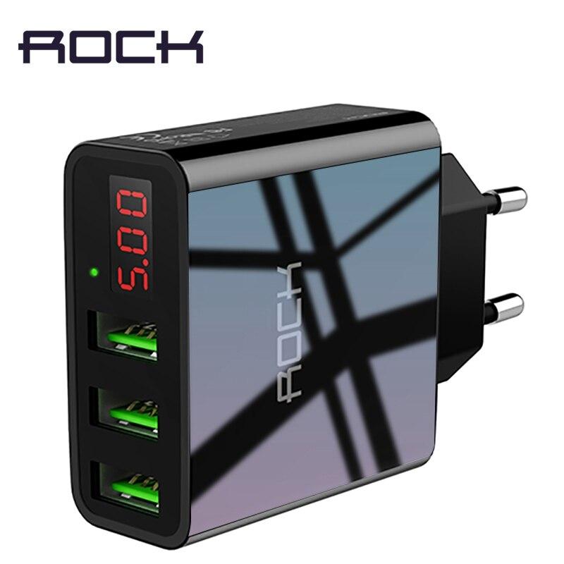 ROCK USB cargador para iphone cargador pantalla LED 3 USB 5 V 3A de carga rápida cargador de pared para iphone Samsung xiaomi Max 2.4A cargo