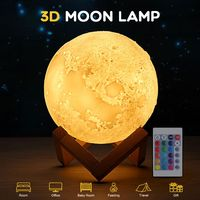 3D Printing LED Moon Lamp 16 LED Colors USB Charging Rechargeable Nightlight Remote & Touch Control
