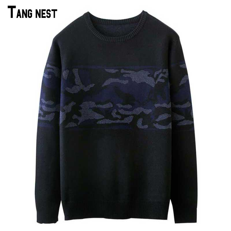TANGNEST Patch Color Sweater Mens New Autumn Fashion Brand Knitting Sweaters Slim Fit Knitted Pullovers for Man M-XXL MZL777