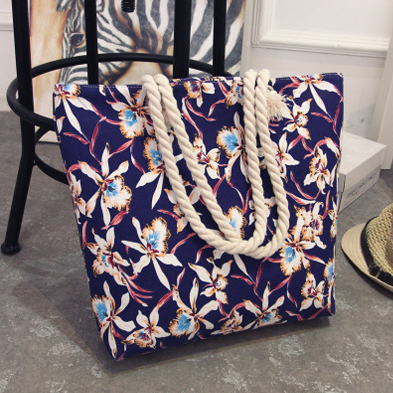 Summer Women Canvas bohemian style striped Shoulder Bag 3