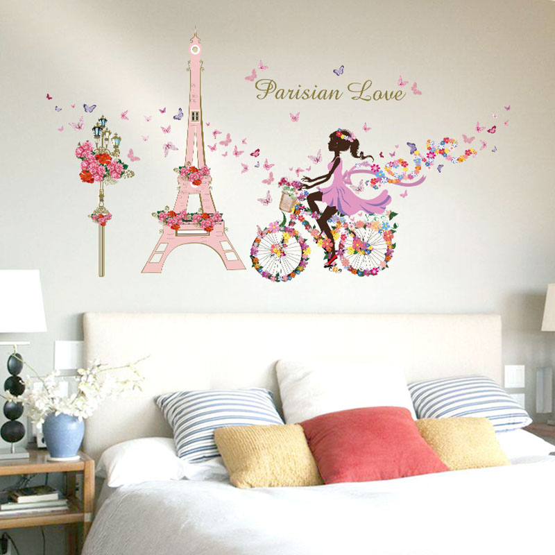 Removable Flower Fairy Girl Bicycle Wall Sticker Princess Cycling ...