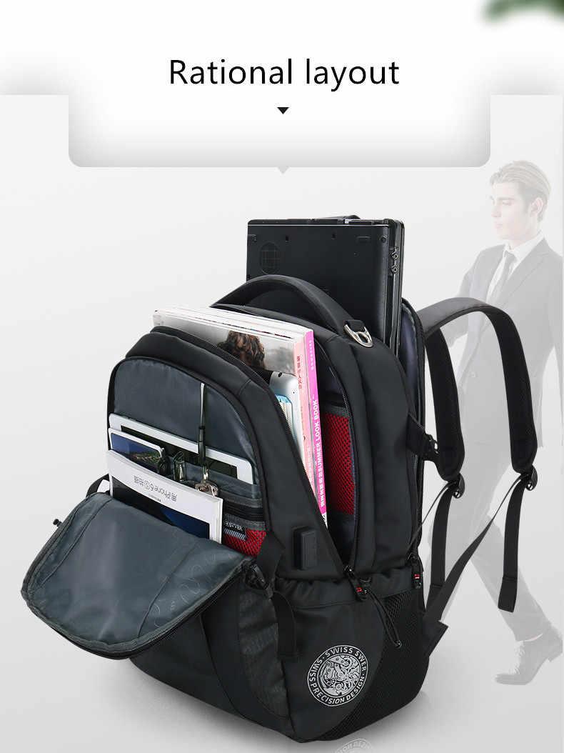 Svvisssvver, многофункциональный кожаный рюкзак на Android, мужская сумка, модная, водонепроницаемая, для путешествий, usb, зарядка, 15,6 дюймов, рюкзак для ноутбука, мужской