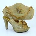 2016 Nova sapatas de harmonização italianas e saco de definir a cor de ouro do dedo do pé aberto saltos de sapatos africanos e saco set! HVB1-35