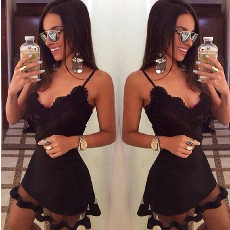 Lace Dress Vestido De Festa Sexy Black Korean Dress Women BodyconSleeveless Halter Party Dresses Mini Female Dress Vestidos