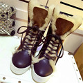 2017 botas de Piel de Nieve Botas de Mujer de Invierno Cálido Botas Aumento de la Altura zapatos de Mujer de Moda Botas Mujer Botas Fresco Botines de Tobillo Sexy Mujer