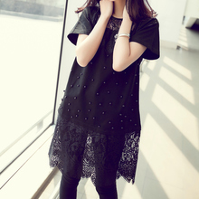 Summer New 2019 Women Round Neck Lace Stitching Dress Plus Size Casual Loose Short Sleeve Hollow Out Dress White Black Vestidos