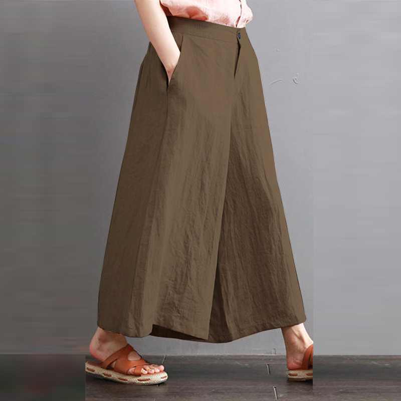 ZANZEA 2018 Summer Women   Wide     Leg     Pants   Elastic High Waist Long Trousers Casual Pockets Pantalon Femme Streetwear Plus Size 5XL