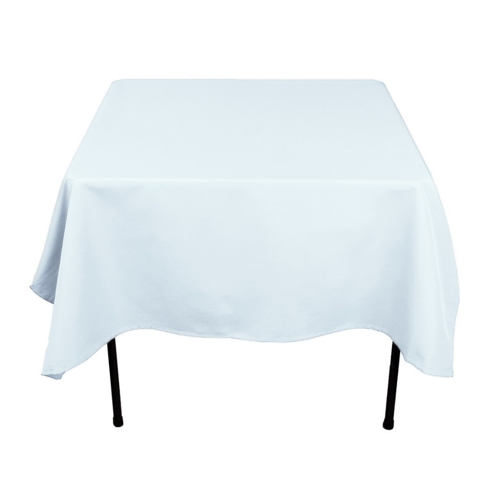 HK DHL Stain Feel 70 inch/180cm Polyester Square Tablecloth Baby Blue for Wedding, 5/Pack