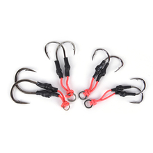 Stainless Steel Jigging Spoon Fishing Hook With PE Line Saltwater Jig Assist Fishhook For Sea Fishing 1 Pairs
