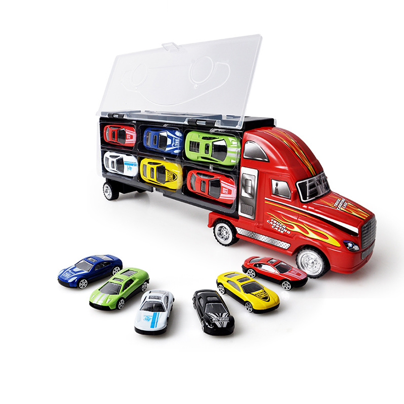 <font><b>1:18</b></font> Toys Trucks with 12 Mini Toy <font><b>Car</b></font> <font><b>Model</b></font> <font><b>Diecast</b></font> Hotwheels <font><b>Cars</b></font> <font><b>Model</b></font> Trucks Toys for children Gifts image