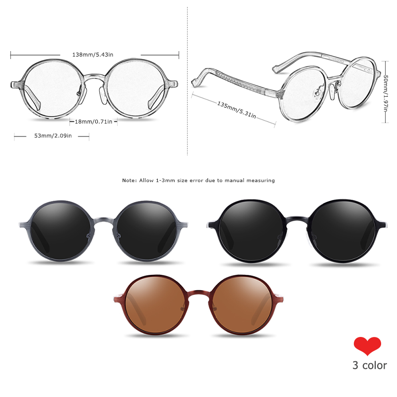 BARCUR Polarized Round Sunglasses Luxury Brand Unisex Glasses Retro Vintage UV400 Retro Style